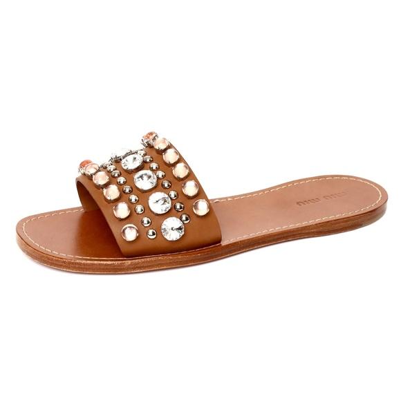 40f4ef065 Miu Miu Neutral Leather Crystals Flat Sandal Slide